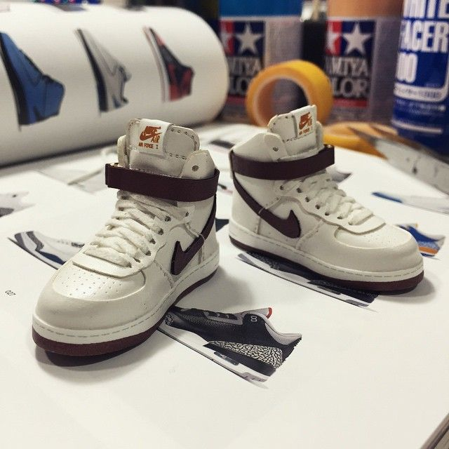 work in progress_'Air Force 1 high'  #airforce1 #af1 #nike #sneaker #handmade #onesixthscale #sewing #빡셈 #하루종일신발만