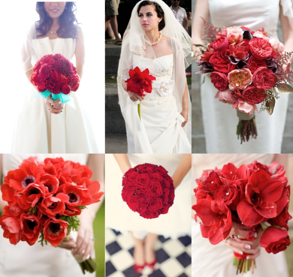 Red is the color of passion and love and can easily be used to create a richly stunning bouquet that is dramatic and demands attention, but paired with softer hued colors, textures and shapes, a bride easily create an eye-pleasing floral statement.