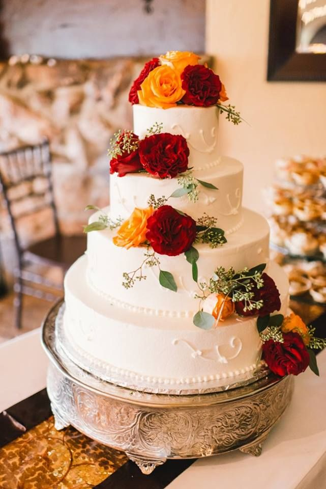 Red And Yellow Wedding Cake Flowers Rustic Fall Wedding Silver Wedding Cake  Stand Three Tiered Wedding Cake