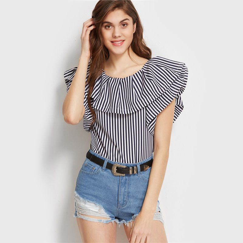 ccc96c1c669178 SheIn Navy And White Striped Ruffled Boat Neck Top Summer Cute Womens Tops  and Blouses Short Sleeve Casual Blouse - StyleMeUp