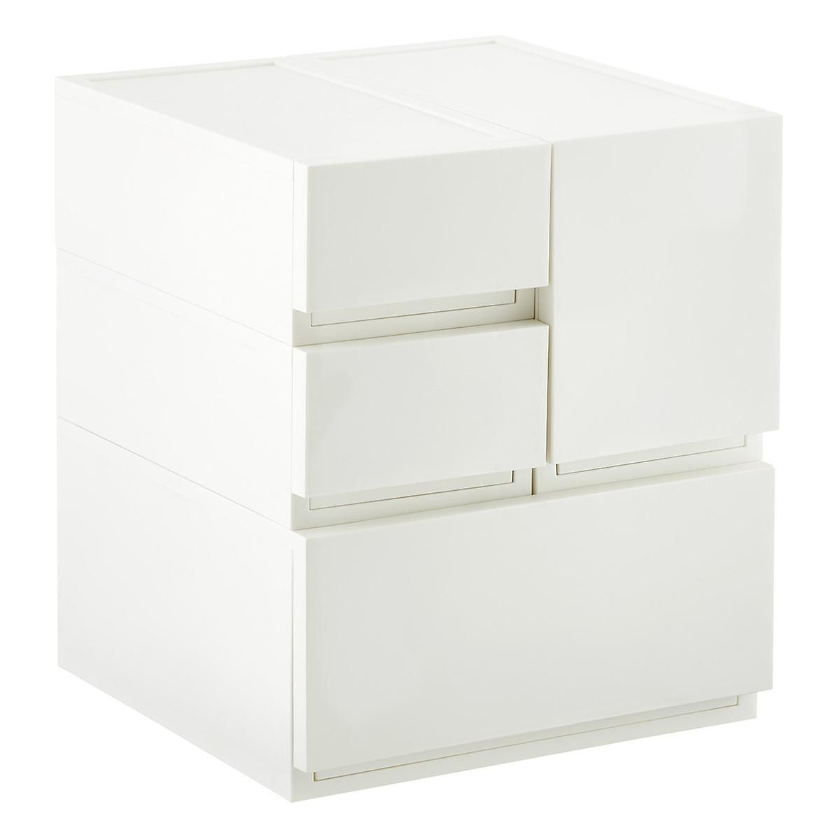 Merveilleux White Opaque Modular Stacking Drawers | The Container Store