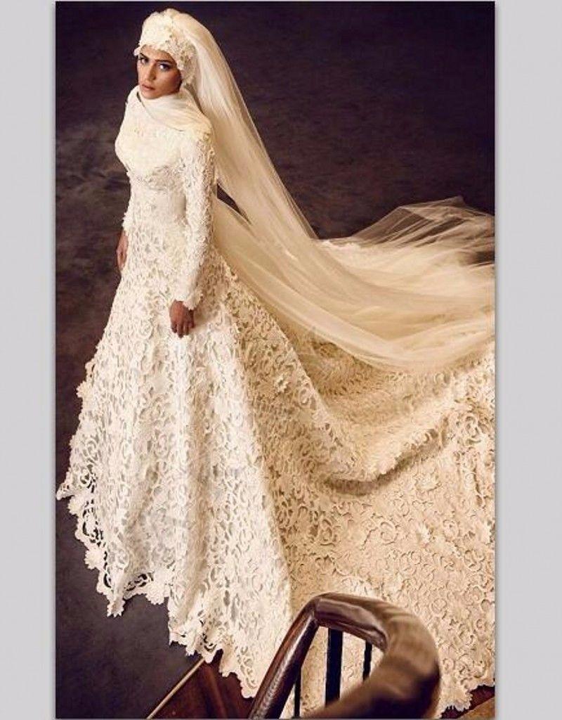 Nice amazing long sleeve muslim wedding dresses lace bridal gown