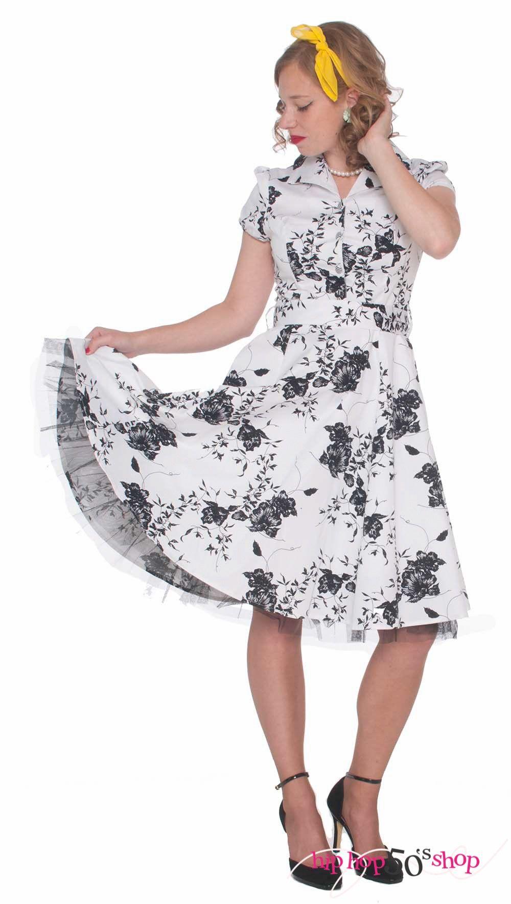 Rockabilly Short Sleeve Swing Dress Flower Print Vintage Dresses 50s Tea Party Dress Sleeved Swing Dress [ 1769 x 1000 Pixel ]