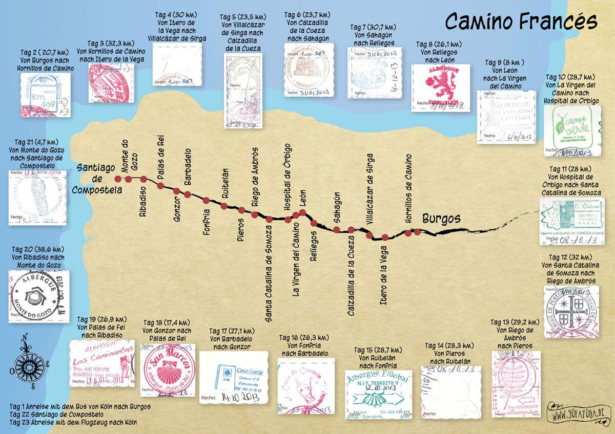 Jakobsweg Frankreich Spanien Karte.Karte Jakobsweg 2013 Von Burgos Nach Santiago De Compostela