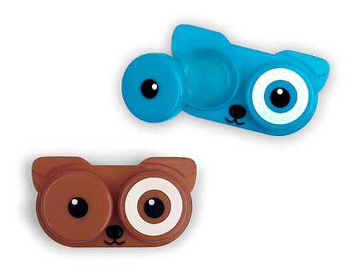 For you brave souls who wear contacts, check this out: It's a little doggie lens case. Five bucks at Kikkerland. Totally worth poking yourself in the eye for.