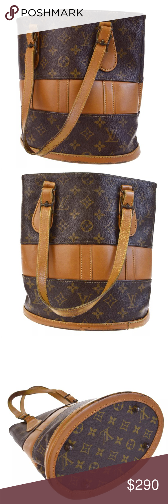 c7492b472a Authentic Louis Vuitton USA bucket PM Monogram This classic bucket style shoulder  bag is crafted of