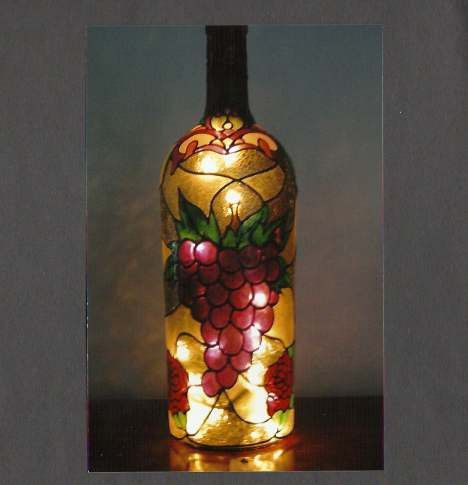 Stained Glass Wine Bottle Lamp Party Centerpiece Ideas Pinterest Beauteous Stained Glass Wine Bottle Decorations