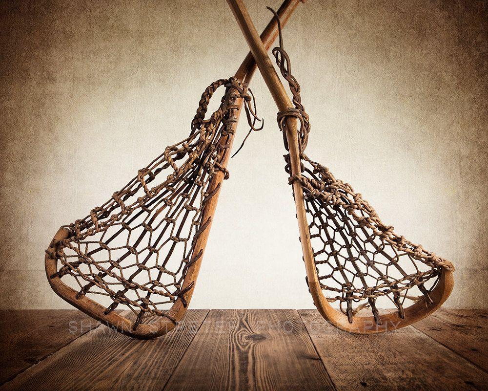 Vintage Lacrosse Sticks Upside Down On Wood 8x10 Print