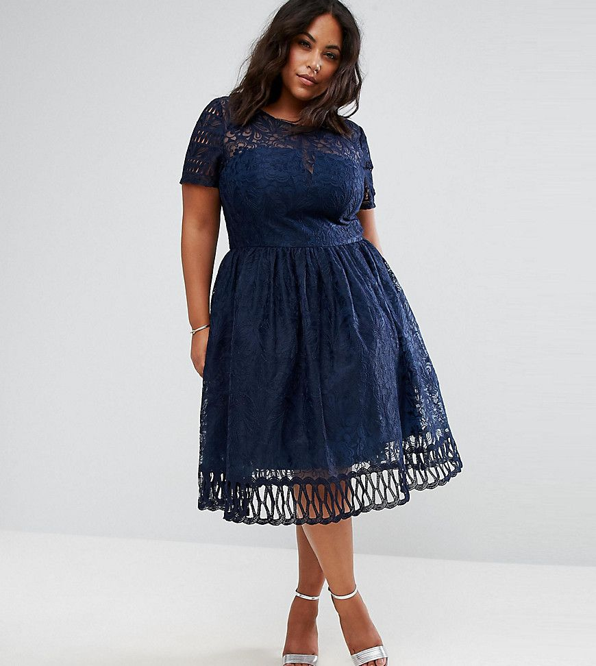 Lace dress navy blue  Chi Chi London Plus Premium Lace Dress with Cutwork Detail and Cap