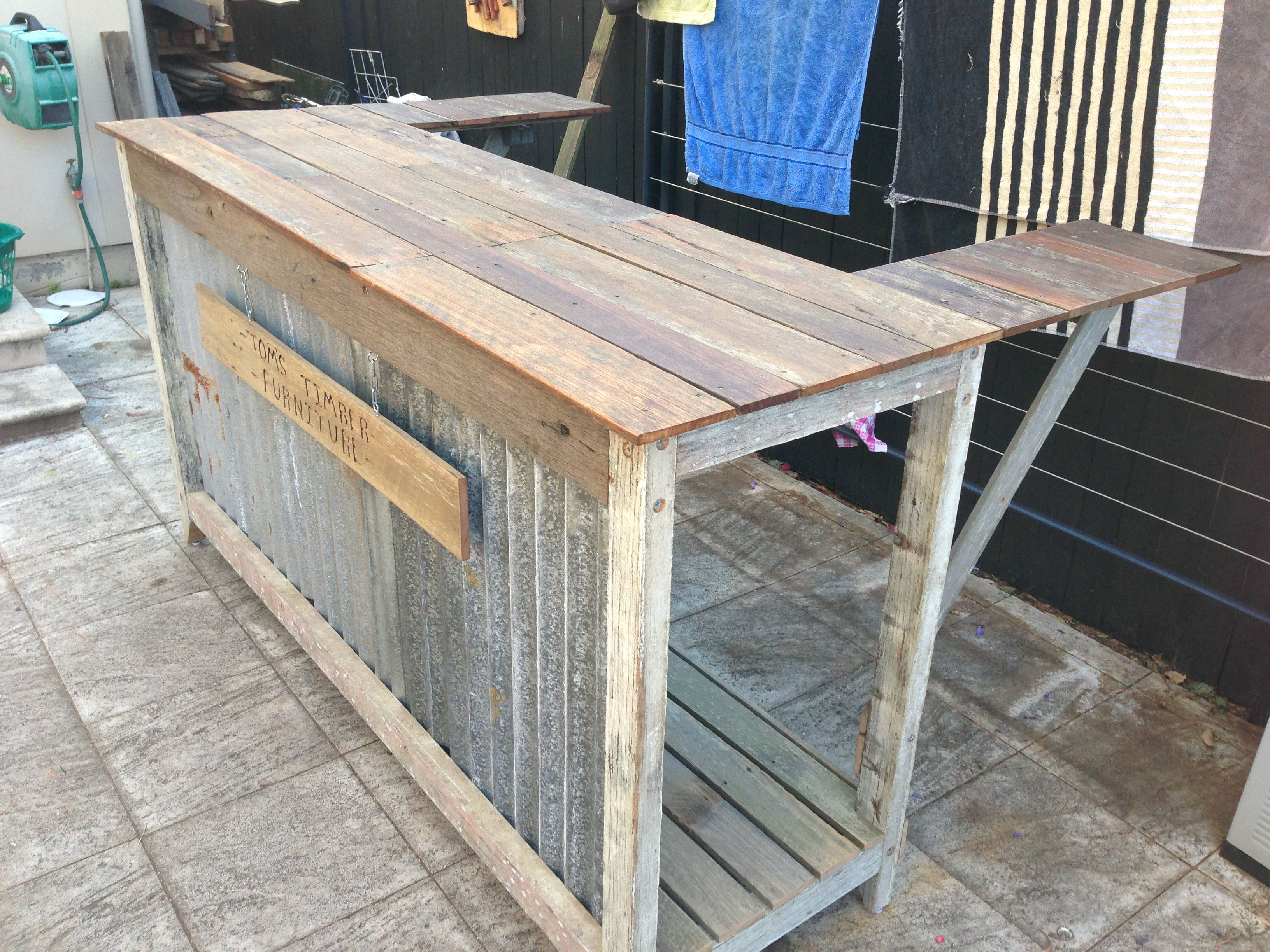 Recycled timber bar made from salvaged materials home for Movable pallets