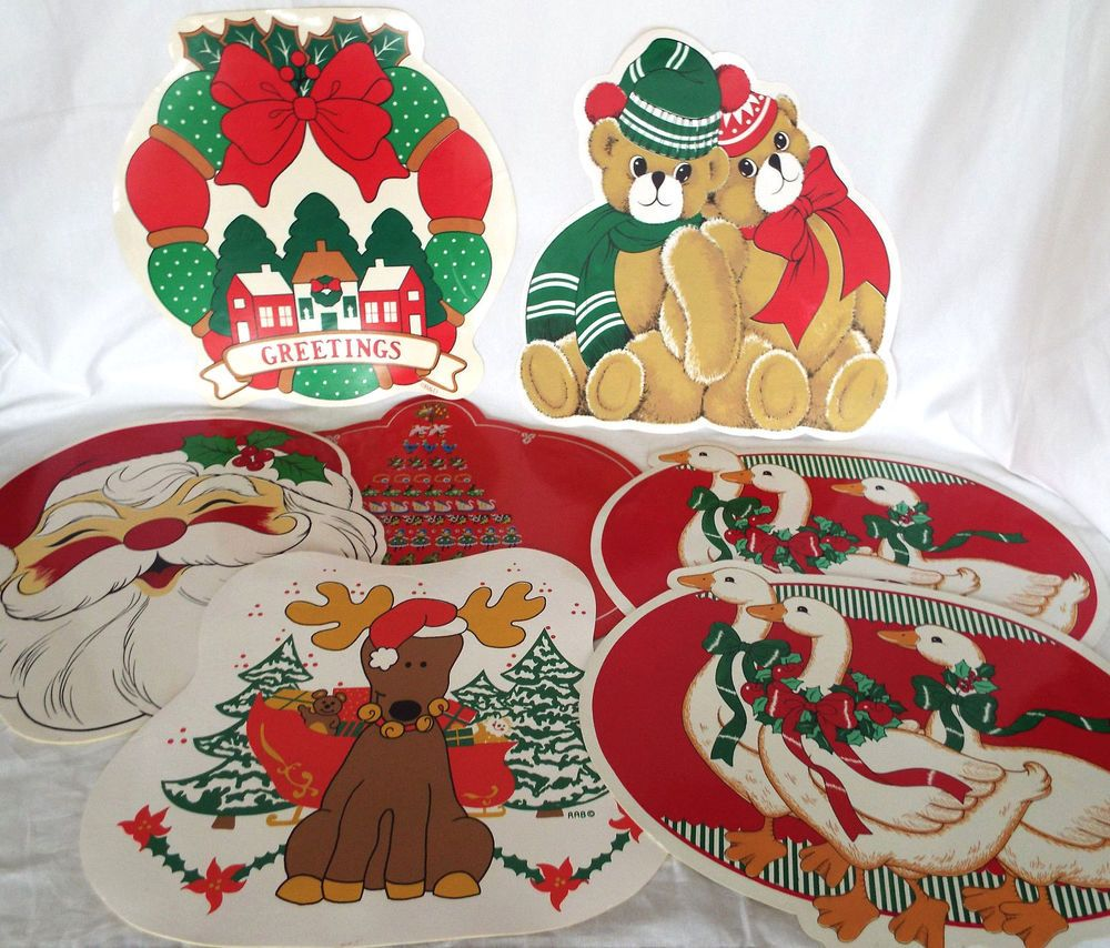 7 christmas placemats foam backed 100 wipe clean vinyl retro place mat lot