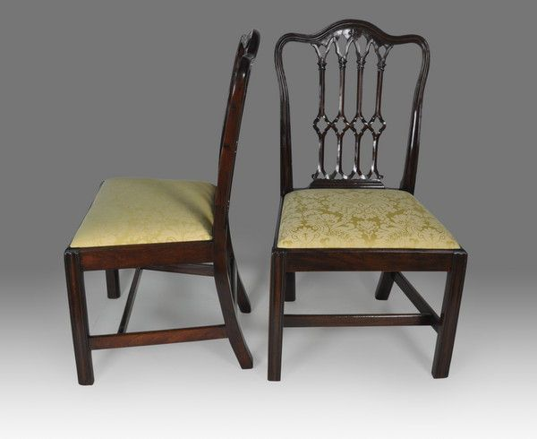 Pair of Gothic Chippendale period Mahogany Chairs - Christopher Buck  Antiques - Pair Of Gothic Chippendale Period Mahogany Chairs - Christopher Buck
