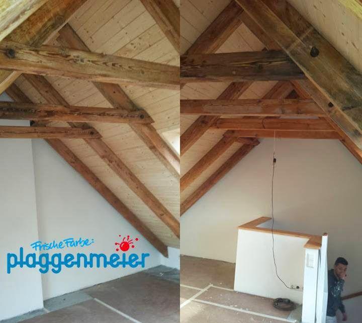 Dachbodenausbau: auch die Balkenkonstruktion soll wieder natürlich wirken.