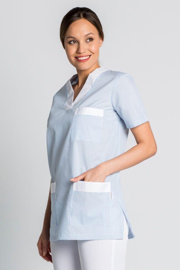 tunique de travail femme manche courte bleu et blanc. Black Bedroom Furniture Sets. Home Design Ideas