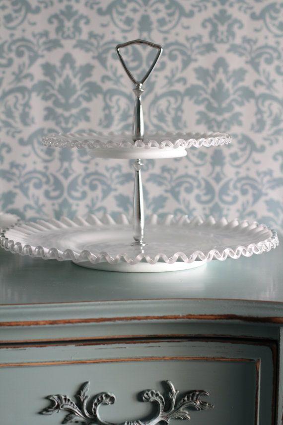 Cake Stand / 2 Tier Milk Glass Tidbit Tray / Wedding Decor Wedding Centerpiece / Silvercrest Silver Crest Ruffle / 2-Tier Dessert Pedestal