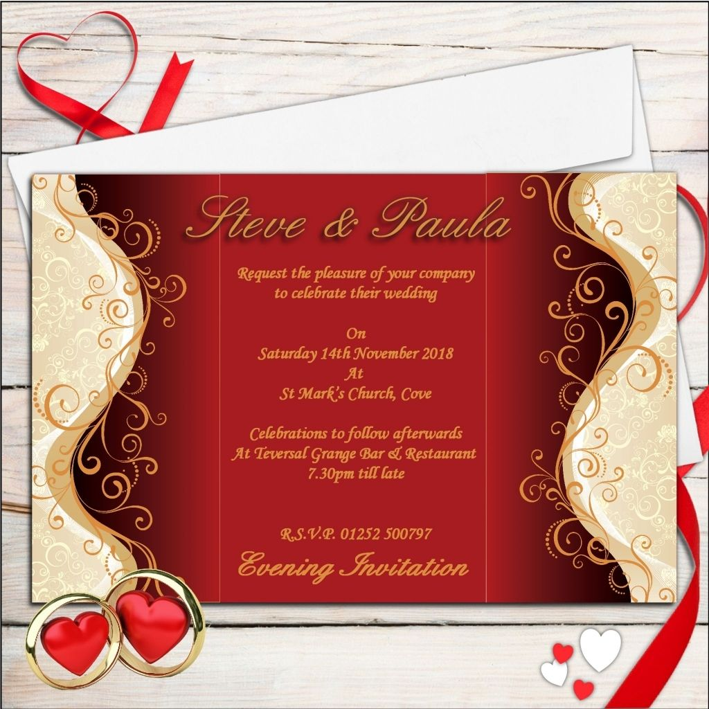 red and gold wedding invitations   Wedding   Pinterest   Gold weddings