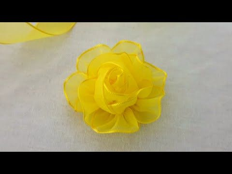Amazing Ribbon Flower Work - Hand Embroidery Design - Ribbon Tricks - Easy Flower Making Ideas