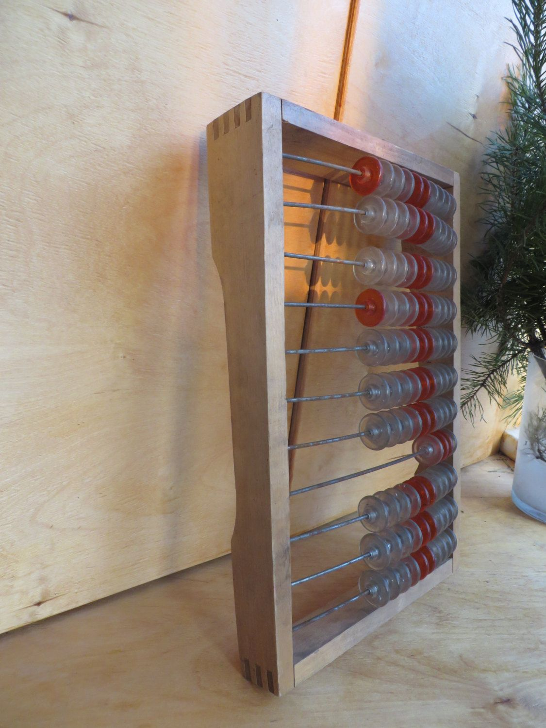 Big soviet wooden abacus with transparent abacus balls. It ...