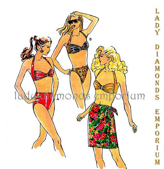 675 Kwik Sew 2082 Womens Halter Swimsuit High Cut Bikini Option ...