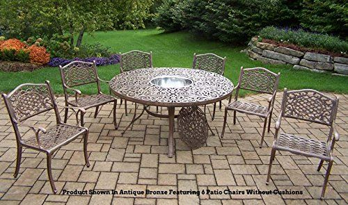 Oakland Living Mississippi 8 Piece Dining Set With 60 Inch Round Table,  Cushioned 4 Chairs And 2 Swivel Rockers Plus Stainless Steel Ice Bucket *  More Info ...