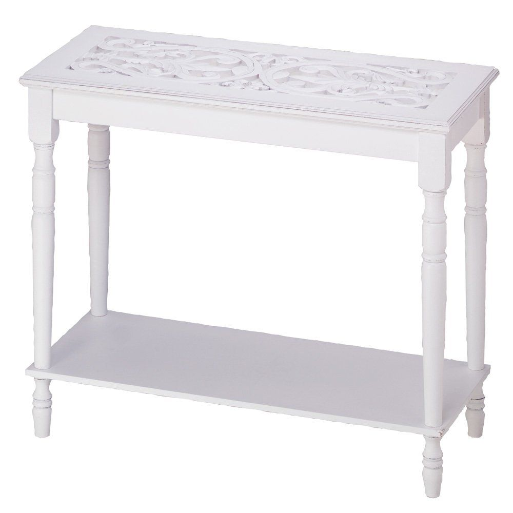 Amazon Com Home Accent White Wood Carved Top Sofa Console Table White Foyer Table White Wood Table Wood Sofa White Console Table