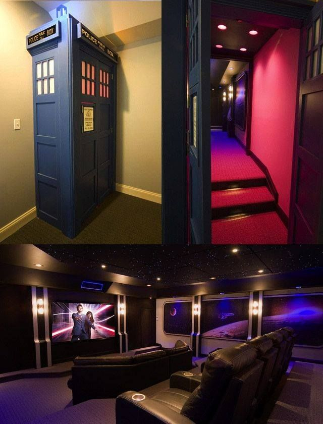 Doctor Who Tardis Home Cinema Bigger On The Inside Want At Home Movie Theater Home Theater Design Home Theater Projectors