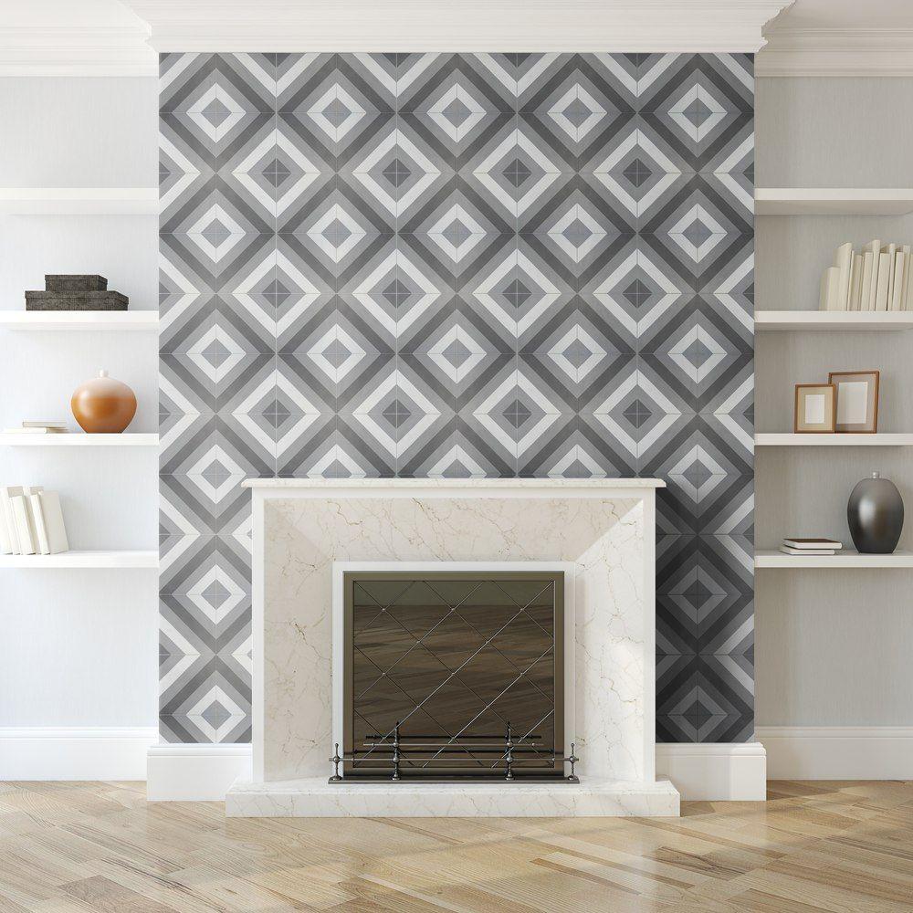 Arrow I 8x8 Cement Tiles Fireplace Tile Surround Cement Tile Fireplace Surrounds