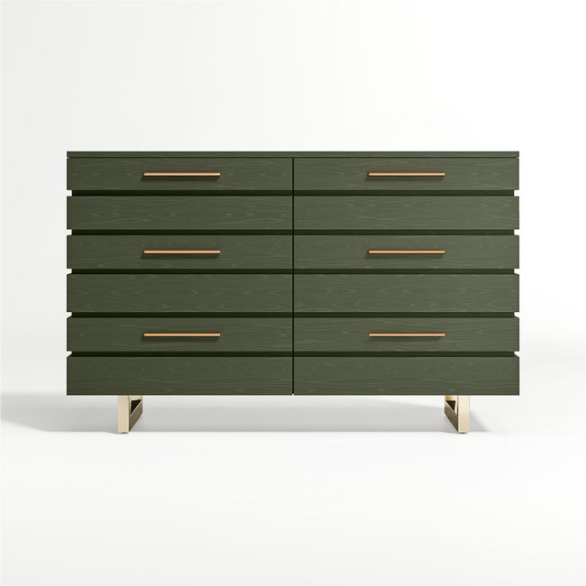 A true gem that'll elevate the look of any kids room or nursery, our Kids Jewel Wide Dark Green Dresser boasts a head-turning mixed material design. In fact, this striking style just might have the parents eyeing one for their own bedroom. A deep, earthy green glaze finish let's the beautiful natural wood grain show through, while the powder-coated gold drawer pulls and base add that perfectly unexpected detail. The grooved drawer fronts only add to the design's uniqueness. Six spacious drawers
