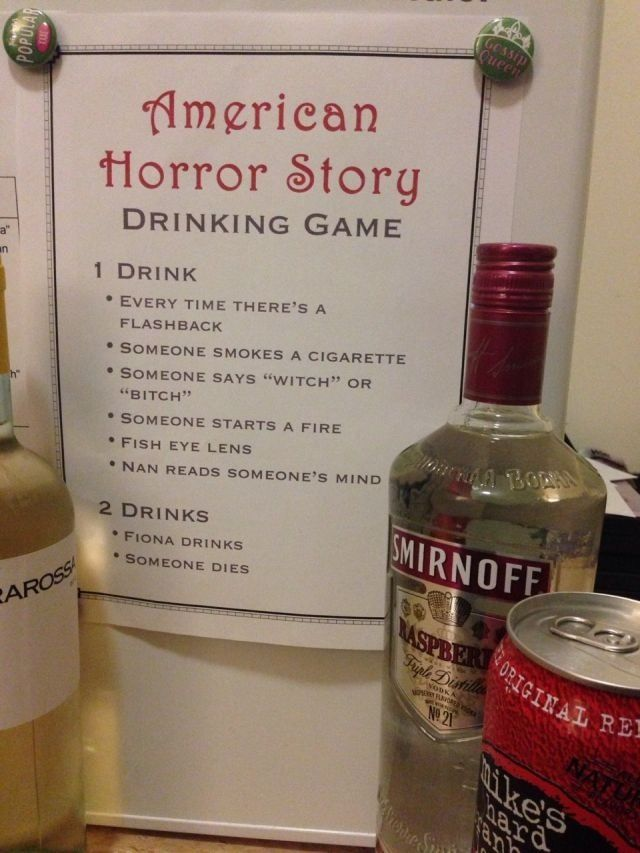 American horror story drinking game! I was just talking about this at the bar last night. Lololololol