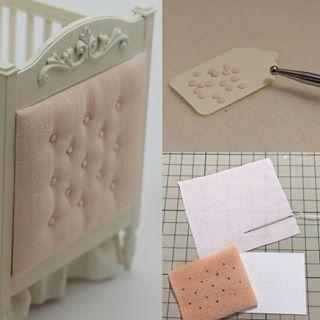 Button Tufting . . 直径1mmの包みボタンを作ってタフティングしました . . #miniature #handmade #dollhouse #furniture #tufting #french #baby #ミニチュア #ハンドメイド #タフティング #ドール #ベビー #dollhouseminiaturetutorials