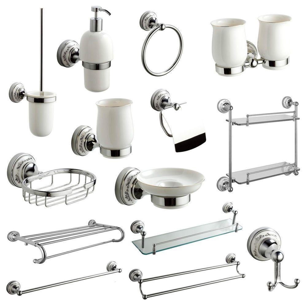 Wooden 6 Piece Bathroom Accessory Set Cet white | proyectos ...