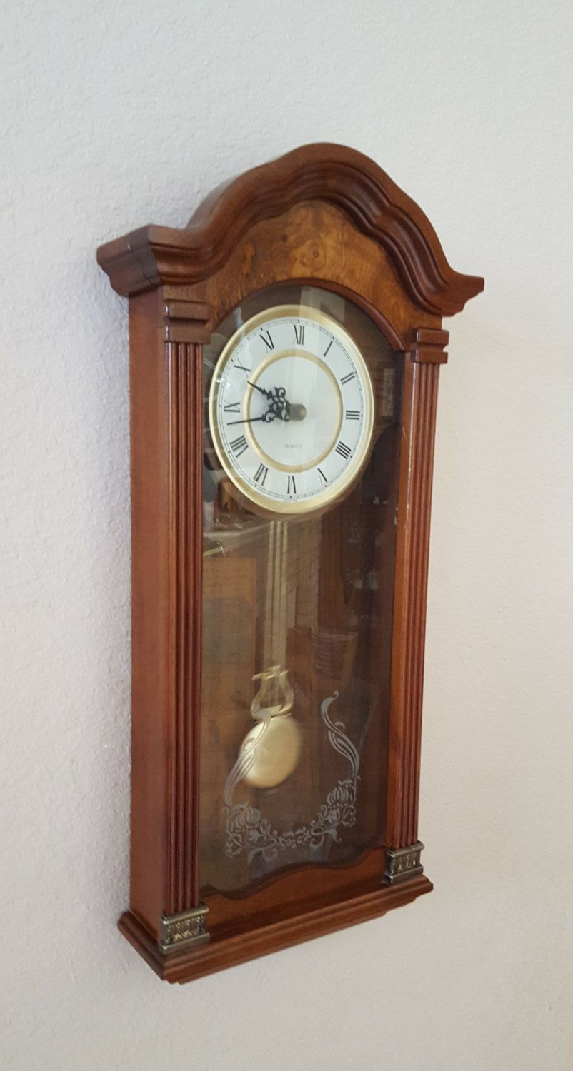 Vintage Colonial Westminster Chiming Burl Wood Tall Case Quartz Wall Clock Professionally Restored With Warranty Ma Wooden Columns Burled Wood Wall Clock