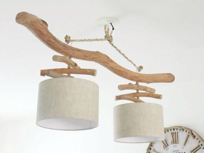 Lustre plafonnier en bois flotté Lin 28 cm création unique