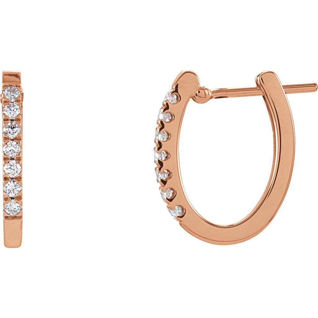 14k Rose Gold with Diamond U-shaped Hoop Earrings b2a0b37ba206
