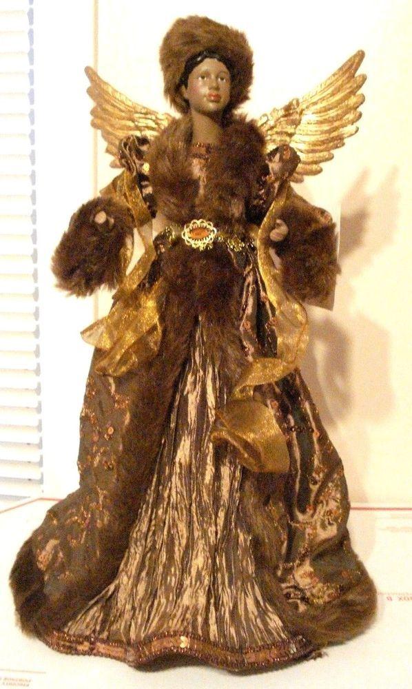 Black African American Angel Tabletop Christmas Tree Topper 17