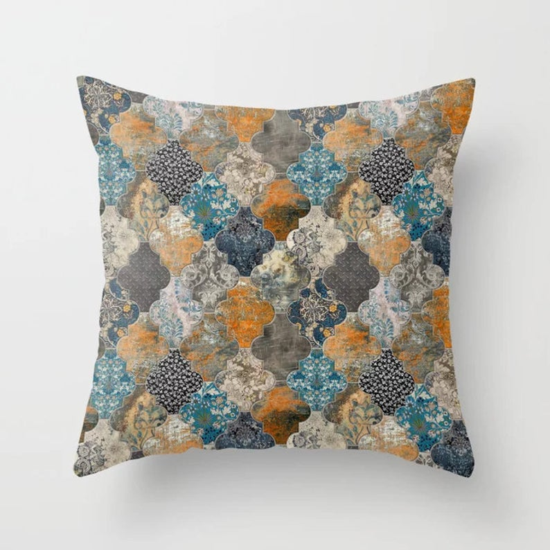 Outdoor Pillows Blue Green Moroccan
