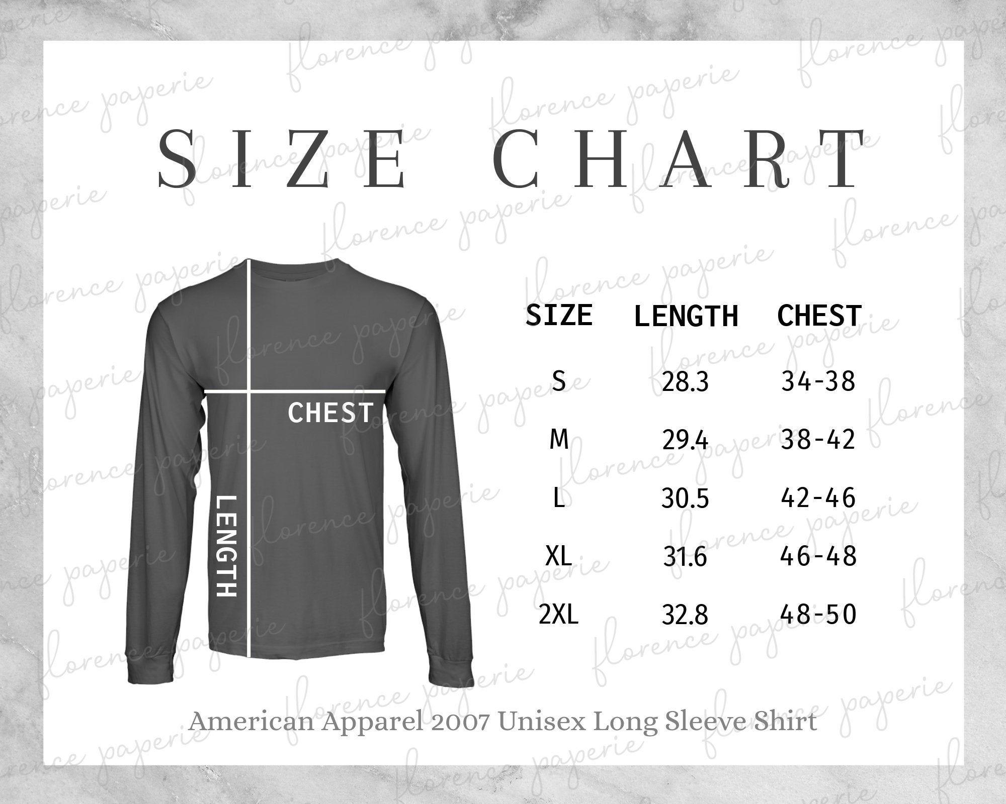 American Apparel 2007 Long Sleeve Shirt Size Chart Unisex Long Sleeve Shirt Downloadable Mens Size Chart Womens Size Chart Printful In 2021 Long Sleeve Shirts Long Sleeve Tshirt Men Size Chart
