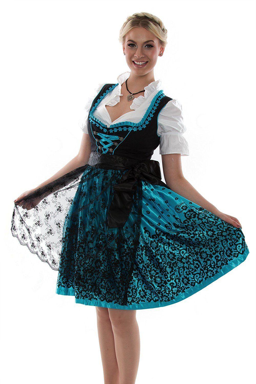 Meloo Trachtenkleid Damen Dirndl Oktoberfest Trachten Kleid ...