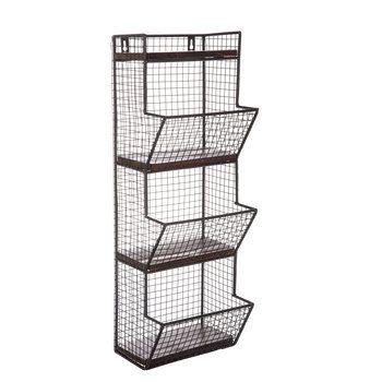 Black Three Tiered Metal Wall Basket Hobby Lobby 1458306 Metal Wall Basket Baskets On Wall Metal Wall Shelves