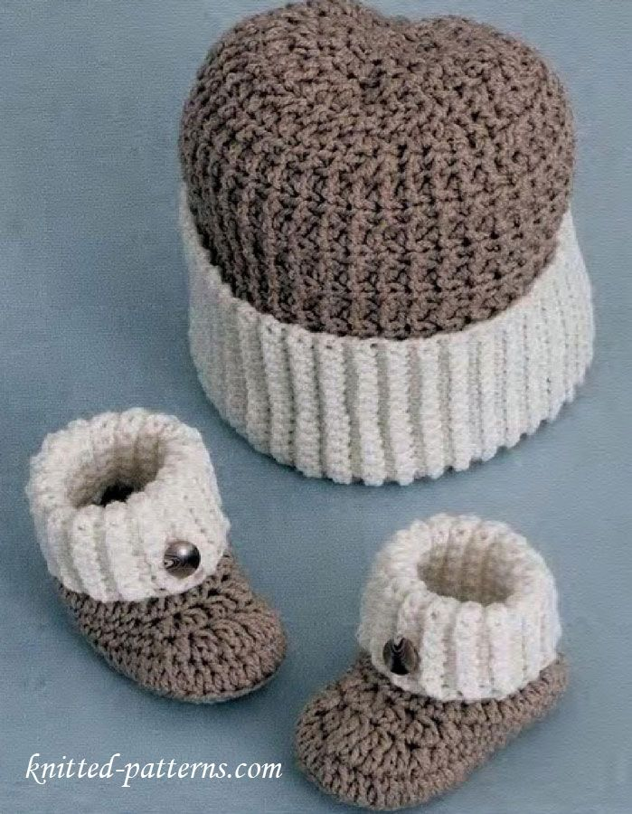 Baby boy booties and hat crochet pattern free | bonnets | Pinterest ...
