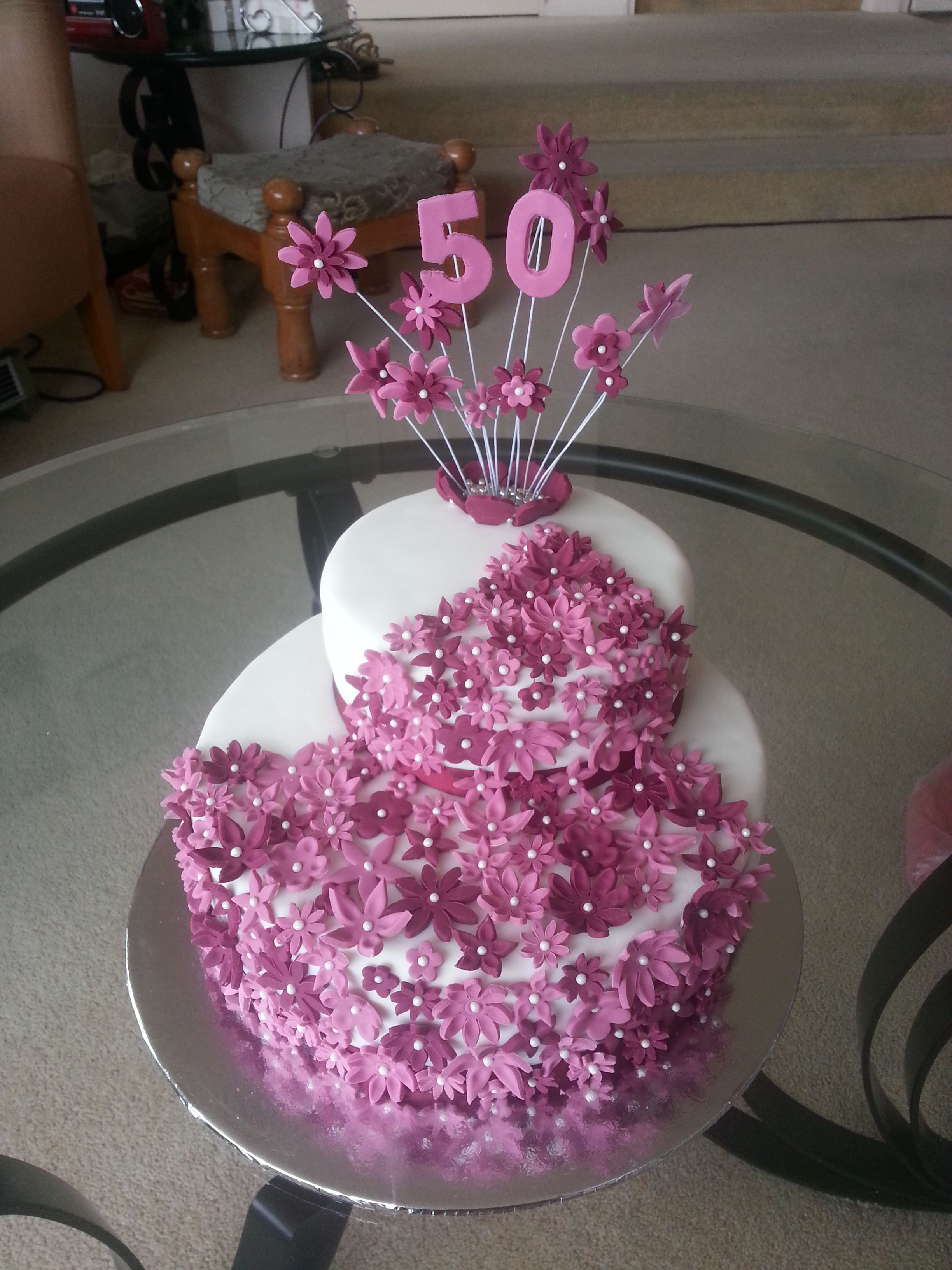 50th Birthday Cake Purple Flowers Homemade Cakes Pinterest