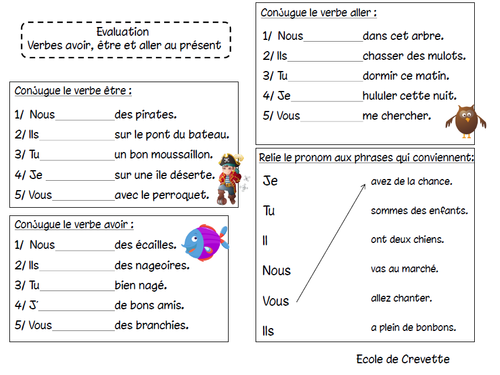 Evaluation Etre Avoir Et Aller Au Present L Ecole De Crevette Aller Au Present Verbe Etre Et Avoir Verbe Etre