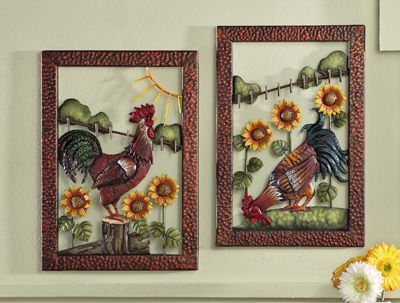 Metal Sculpted Country Rooster & Sunflowers Wall Art | Rooster Decor on