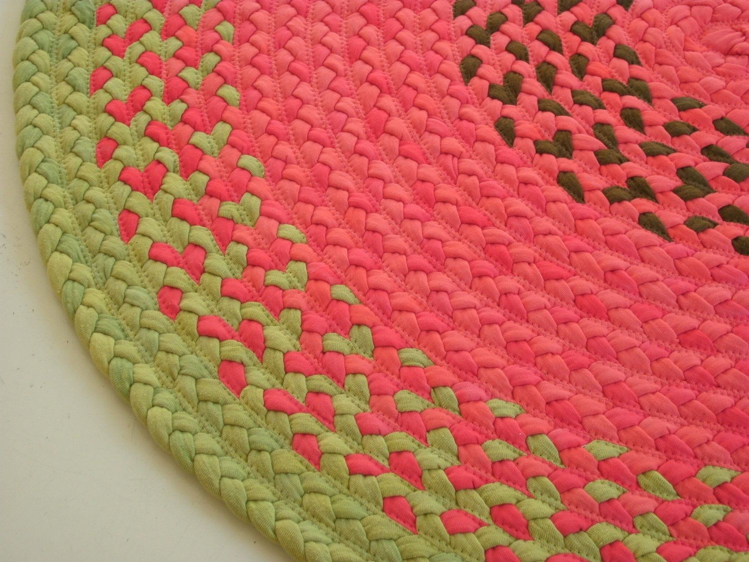 "Ready to ship 40"" watermelon rug created from USA organic cotton and recycled t shirts"