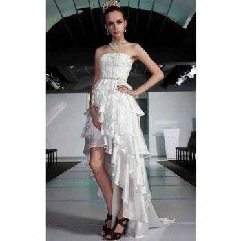 Moderne Abendkleider mehrlagig Weiß kurz vorne hinten lang ...