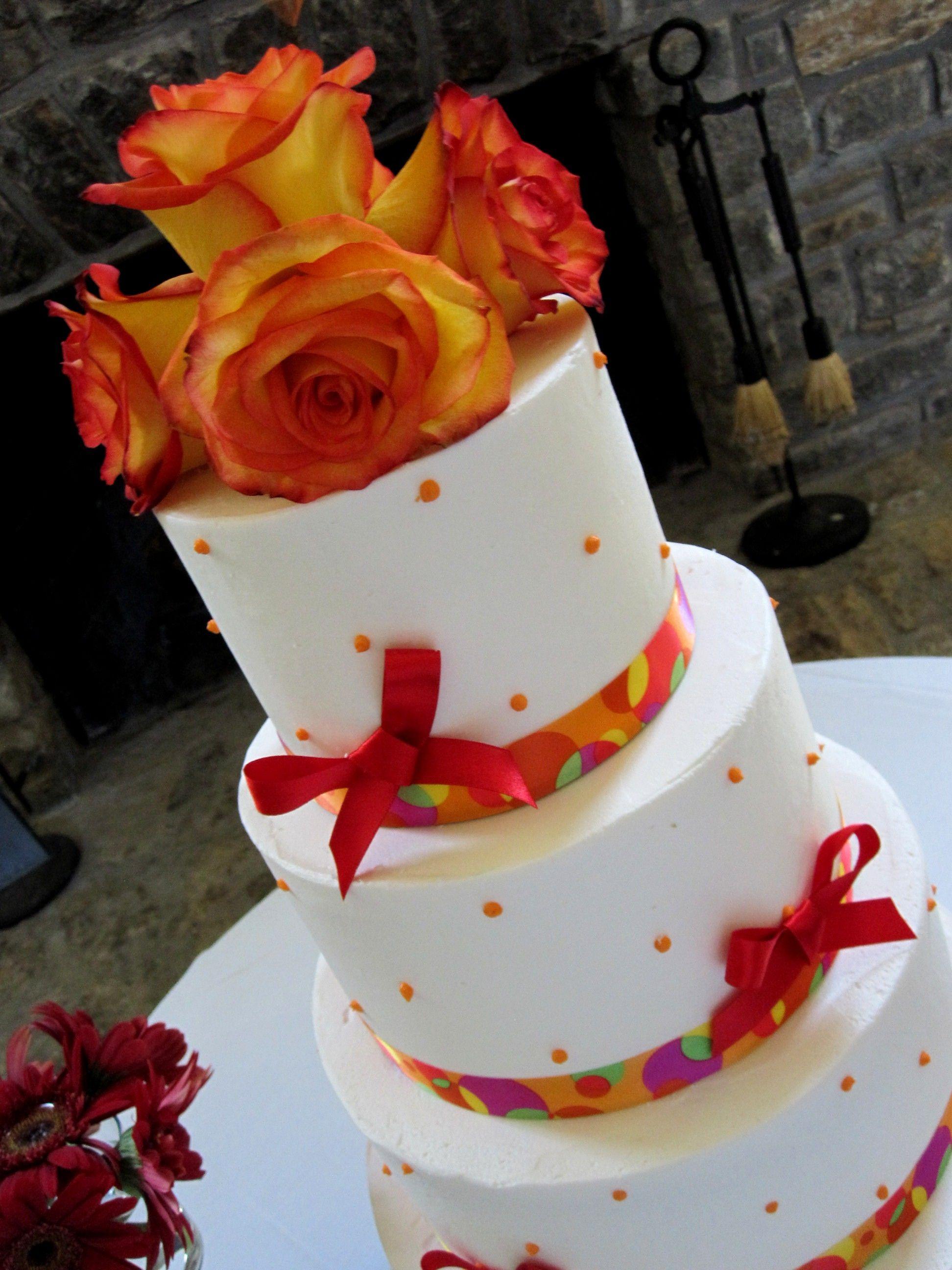 Wedding Cake Buttercream Orange, Red and Yellow The