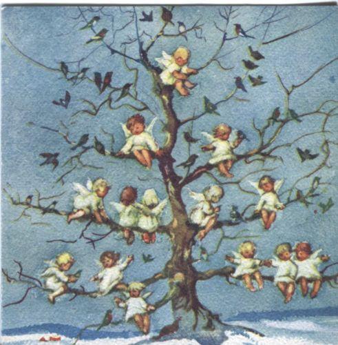 1949 Vintage Brownie Christmas Card- Angels in a Tree
