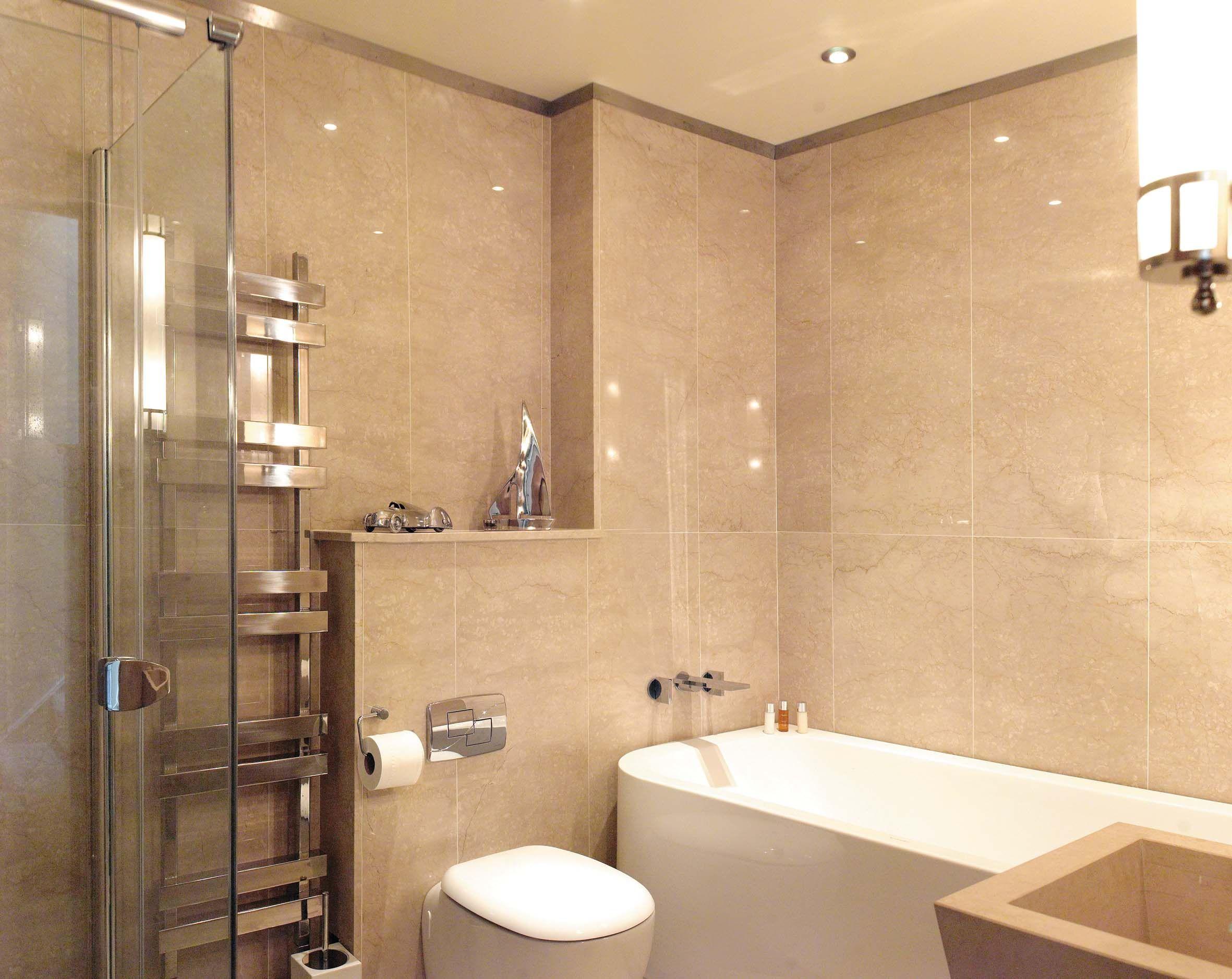 Guest Bathroom Floor And Wall Cladding In Crema Imperiale Polished Limestone Bathroom Marble Bathroom Wall Coverings Bathroom Wall Panels Gray Bathroom Decor