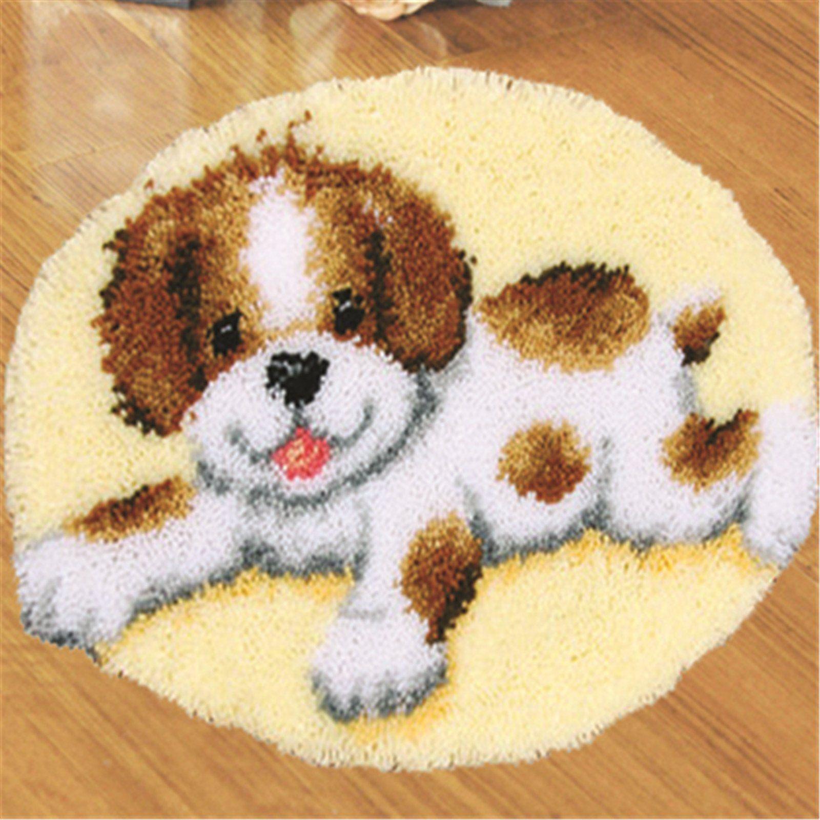 Puppies Dog Rug Latch Rug Hook Kit DIY Mat Yarn Cushion Embroidery Home Decor