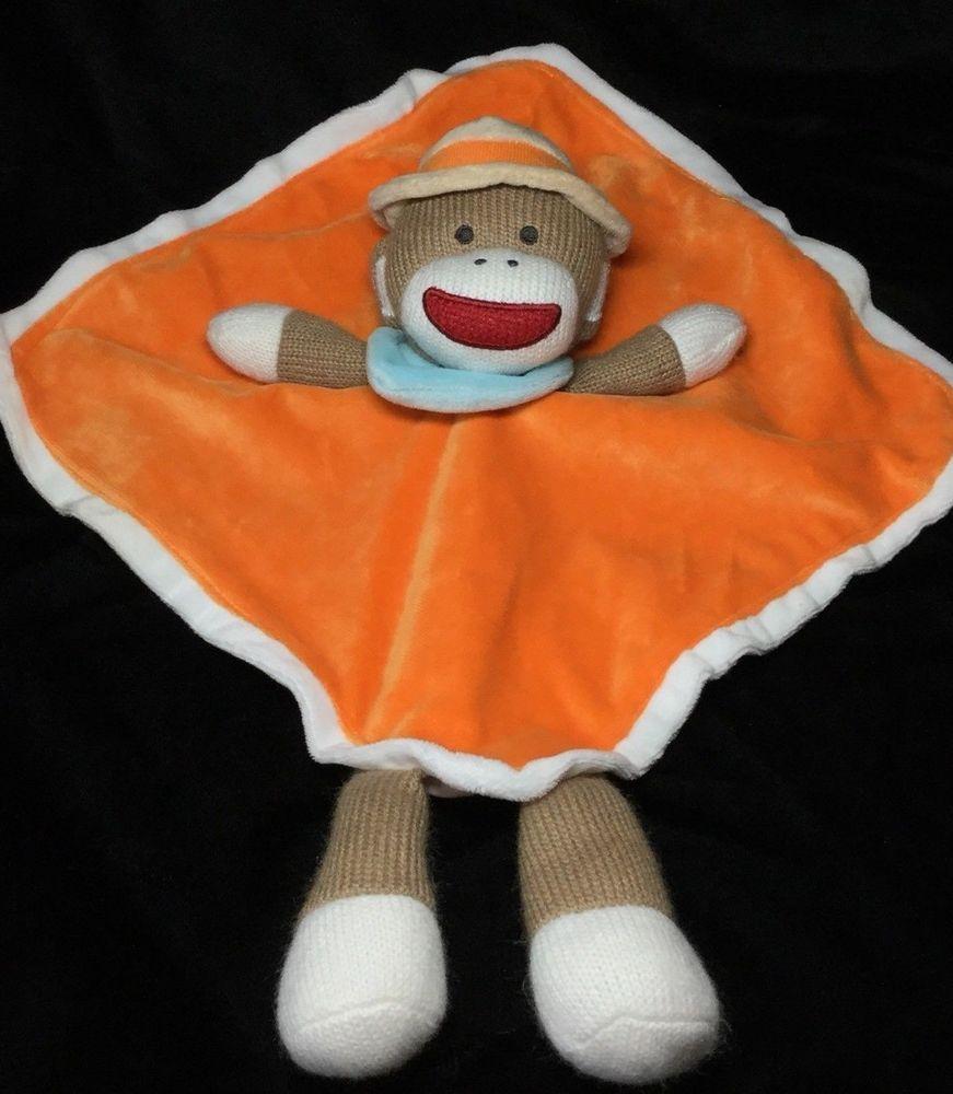 Baby Starters Orange Sock Monkey Security Blanket Brown Lovey Rattle ...
